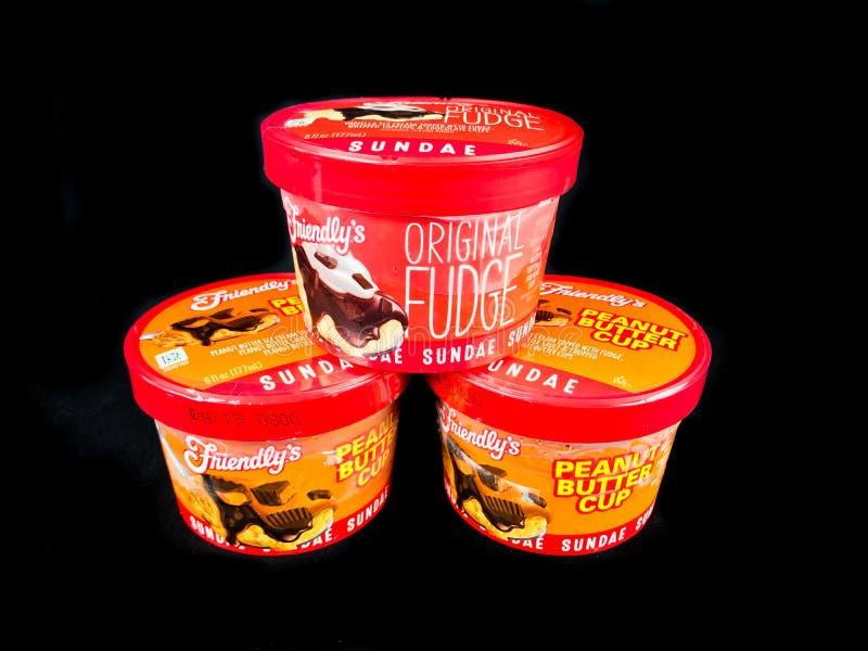 Friendly`s Individual Ice Cream Sundae`s stock images