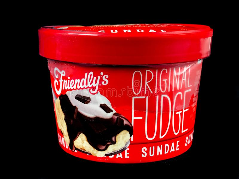 Friendly`s Individual Original Fudge Ice Cream Sundae stock photography