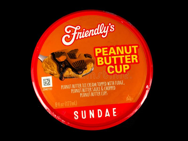 Friendly`s Individual Peanut Butter Cup Ice Cream Sundae royalty free stock photo