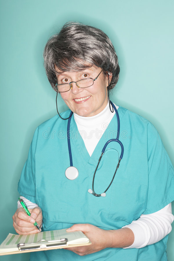 Friendly Senior Nurse Stock Photo