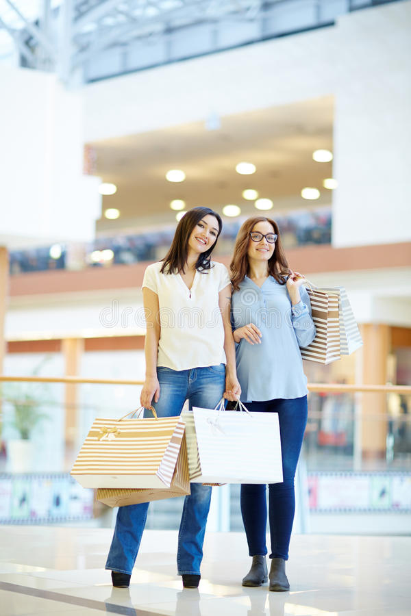 Friendly shoppers stock photos