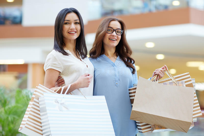 Friendly shoppers stock image