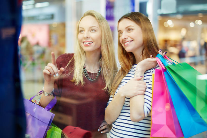Friendly shoppers stock photography