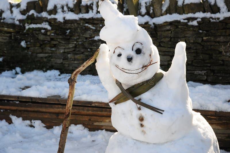 Friendly snowman stock photography