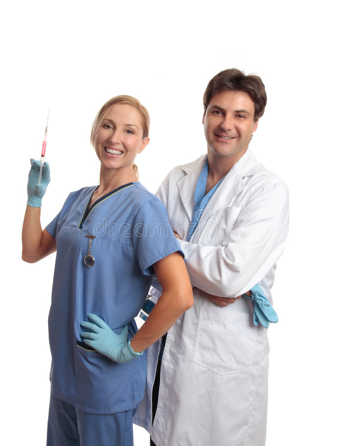Friendly successful doctor nurse medical team royalty free stock images