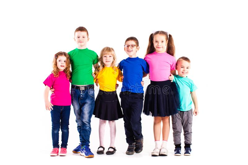 Friendly team of boys and girls stock images