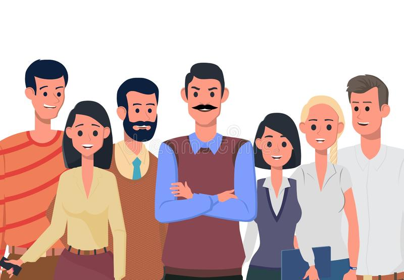 A friendly team of like-minded people. Vector. Team of cute cheerful men and women employees or colleagues. Office workers. A friendly team of like-minded people stock illustration