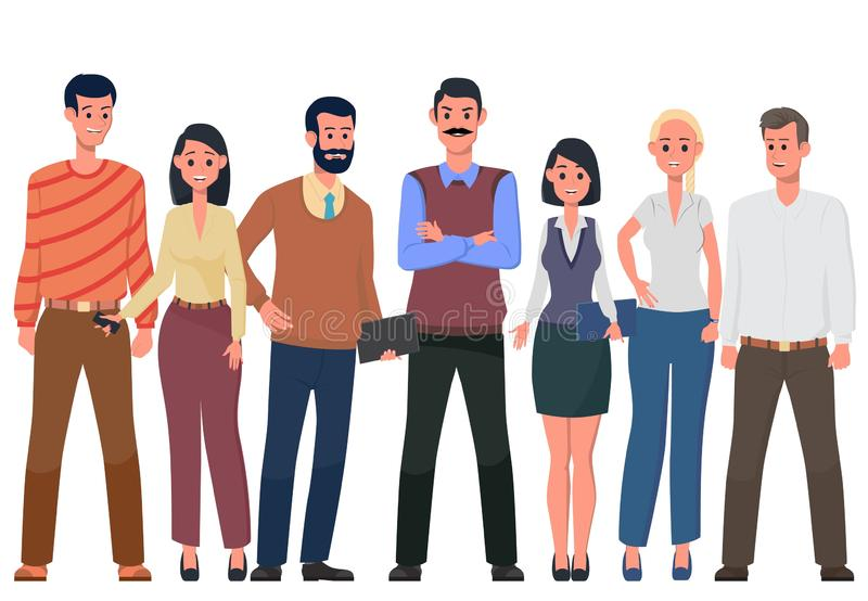 A friendly team of like-minded people. Vector. Team of cute cheerful men and women employees or colleagues. Office workers. A friendly team of like-minded people vector illustration