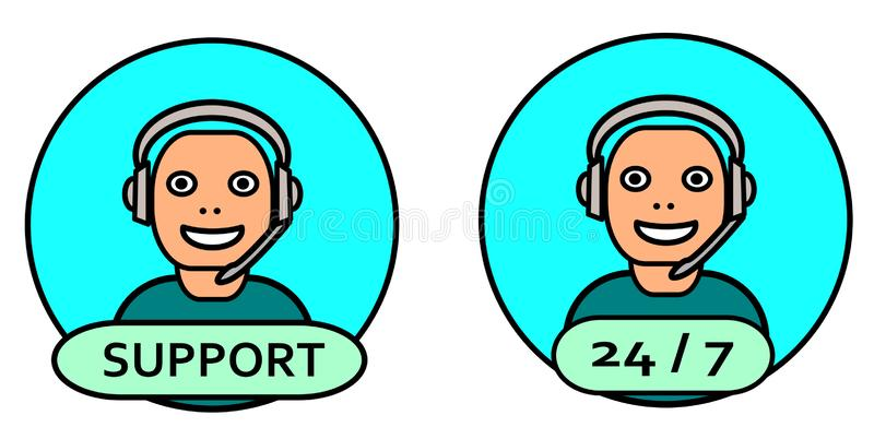 Friendly Tech Support Customer Service Vector Illustration. Friendly Tech Support Customer Service Vector  Illustration stock illustration