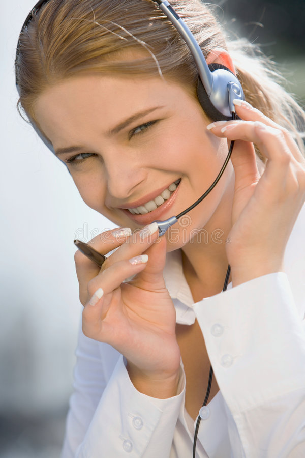 Friendly telephone operator royalty free stock images