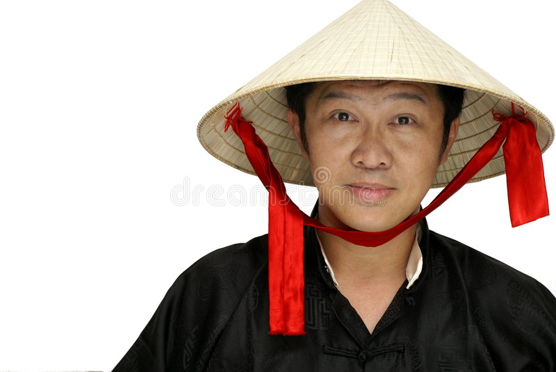Friendly vietnam man. Friendly asian chinese man with vietnamese conical hat on white background royalty free stock photography