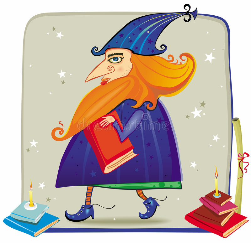 A friendly wizard, with books vector illustration