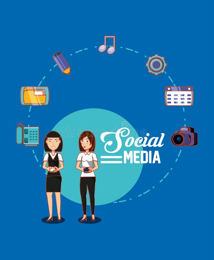 Friendly women holds cellphone social media connection royalty free illustration