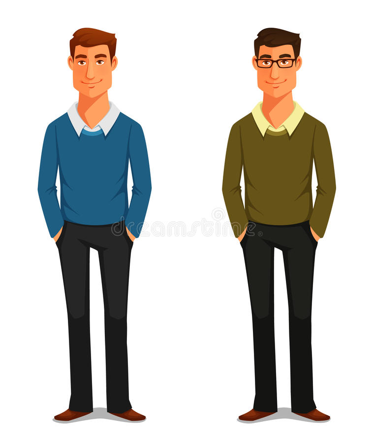 Friendly young man in casual clothes stock illustration