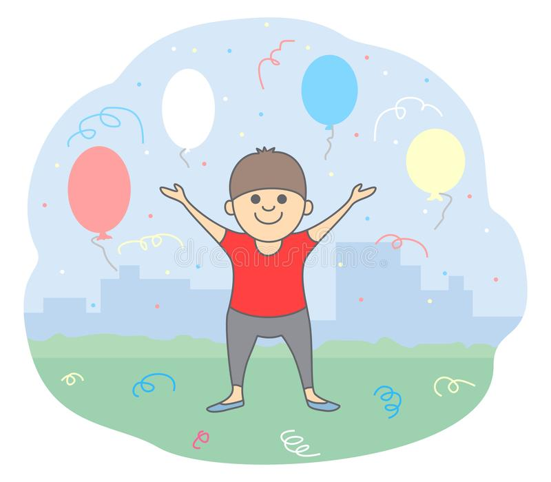 Concept of congratulation. A friendly young man holding his hands up, color balls and confetti around him. Isolated vector illustration in line style stock illustration