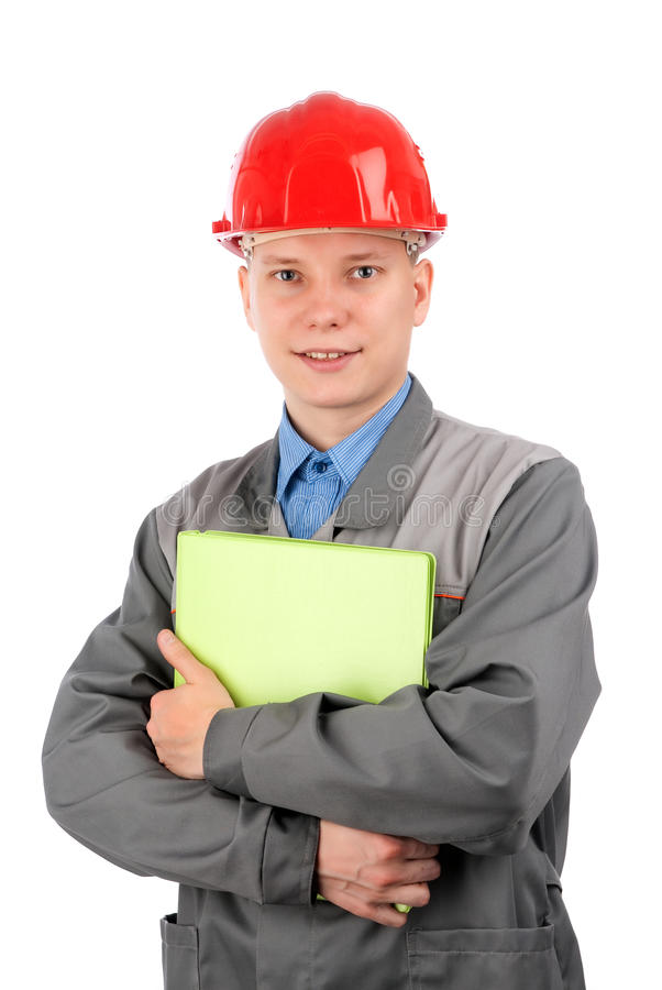 Friendly young work man stock photos