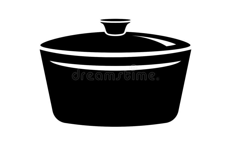 Friendo el cazo caliente cocine el icono de la cacerola, estilo simple stock de ilustración