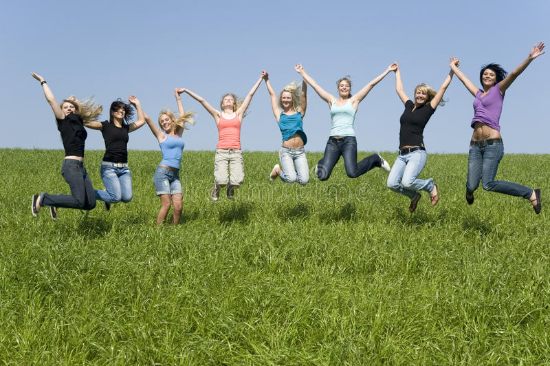 Download Friends stock image. Image of sparetime, jumping, women - 10223753