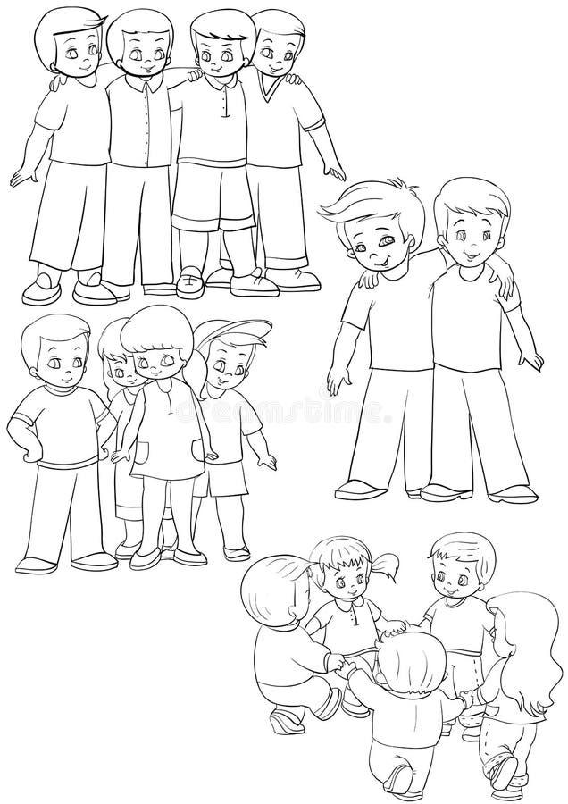 Download Friends stock vector. Image of outline, kindergarten - 11088100