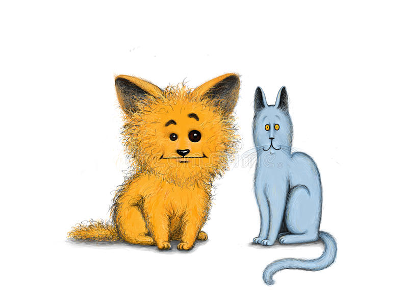 Friends. Cat and dog such different. Illustration, Photoshop stock illustration