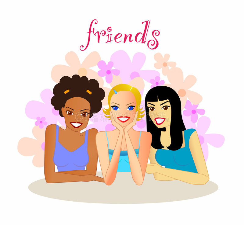 Friends. An illustration of a group of smiling young women of different ethnicity, sitting together enjoying each other's company