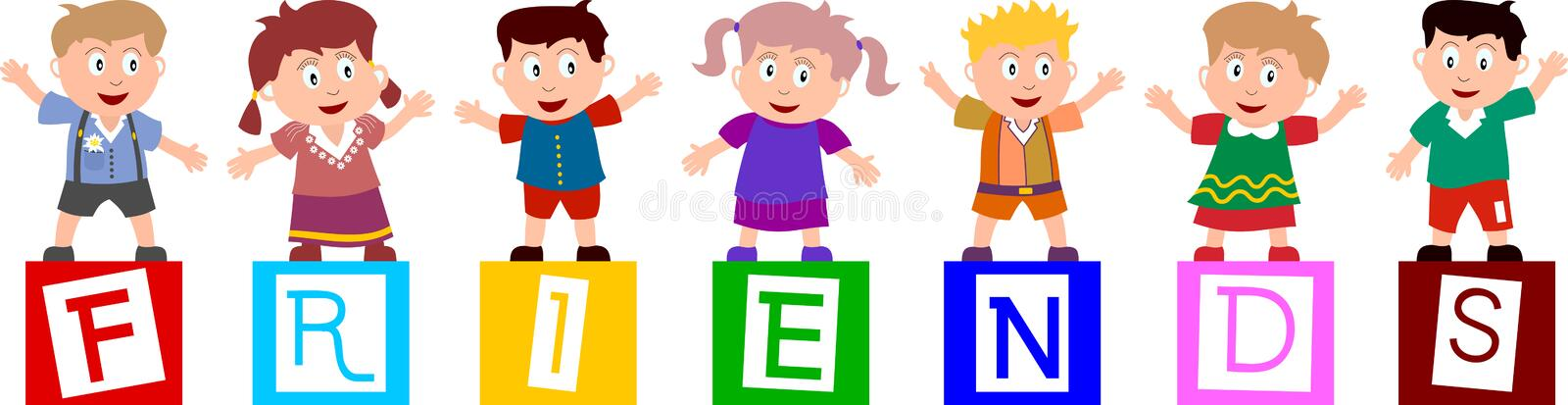 """Friends. Group of seven happy kids standing on the letters of the word """"friends"""". You can find many other illustrations of kids in my portfolio. Eps"""