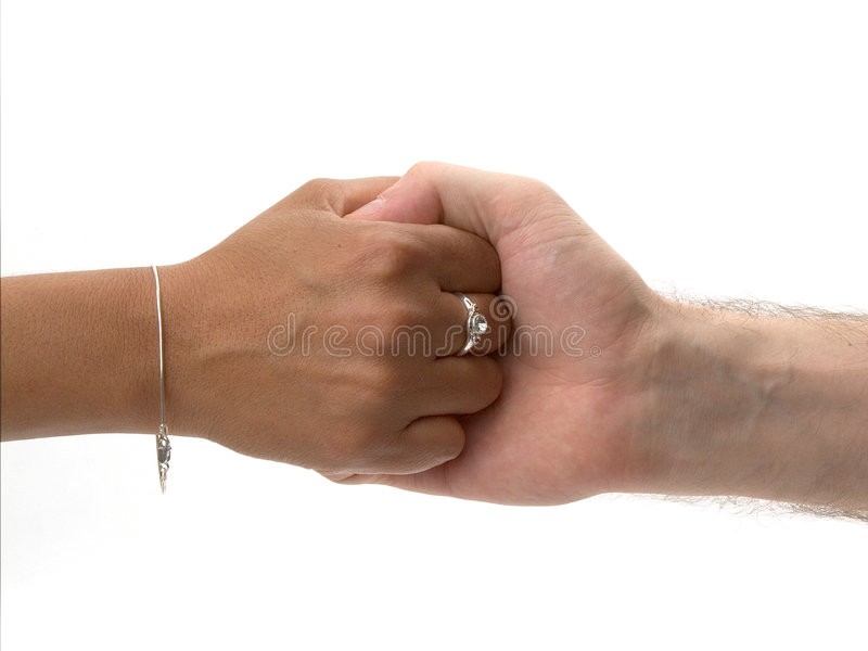 Friends. Male and female hand on white background stock image