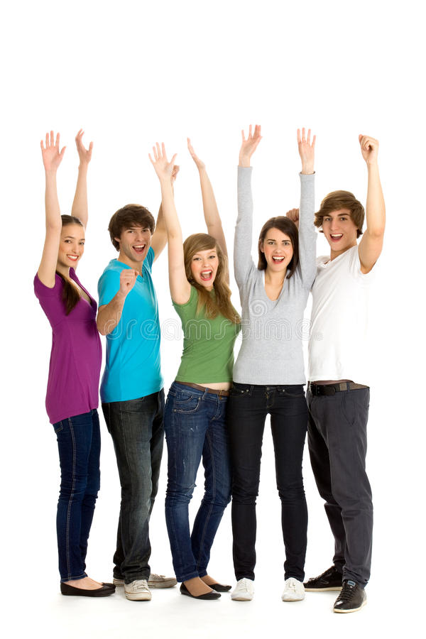Download Friends with arms raised stock image. Image of happiness - 14400427