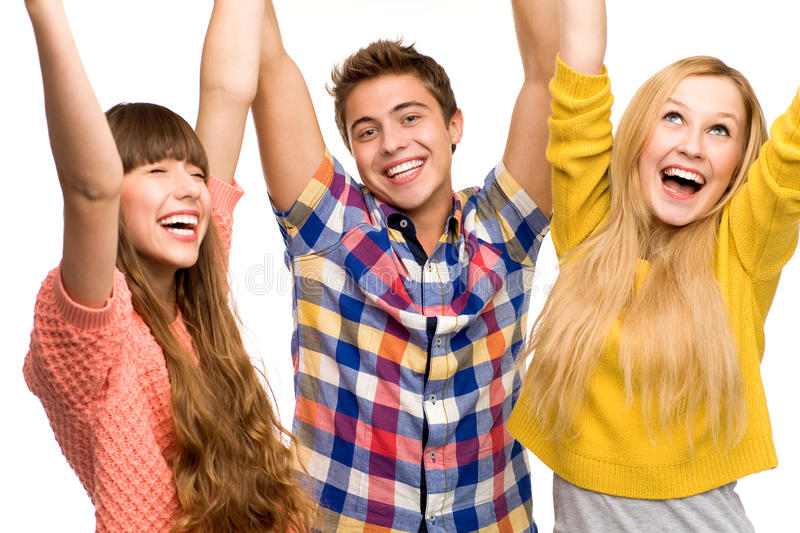 Download Friends with arms raised stock image. Image of background - 21381105