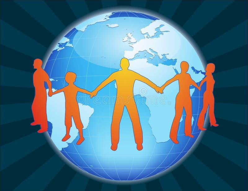 Friends around the world. Friends holding hands around the world stock illustration