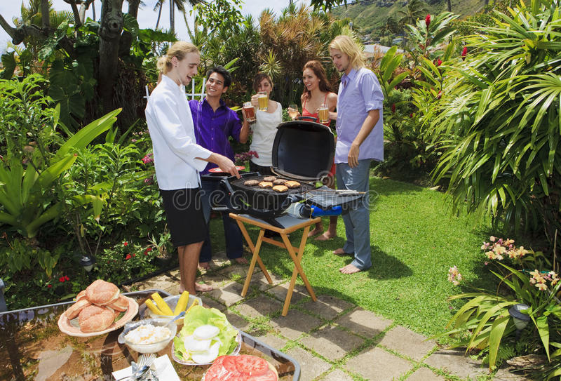 Download Friends At A Backyard Bar-b-que Stock Image - Image of meat, happy: 13916937