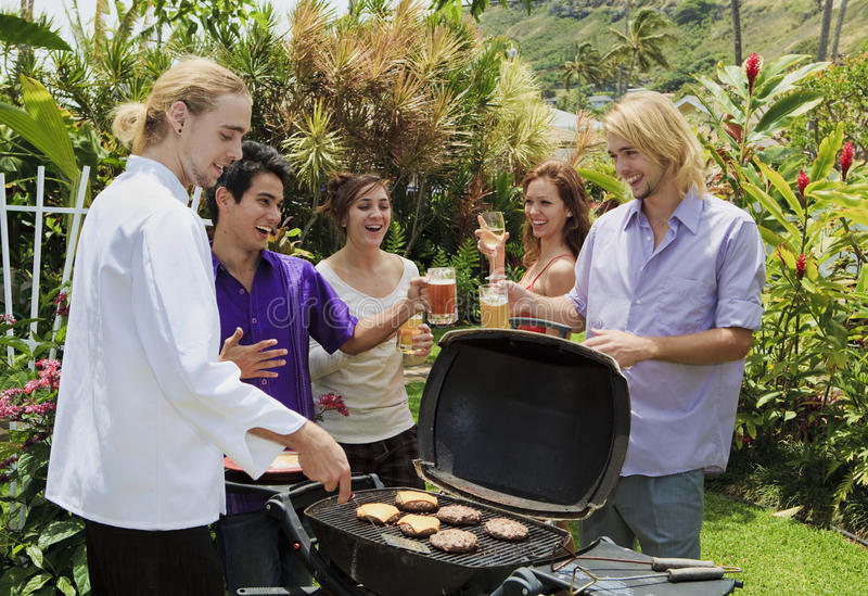 Download Friends At A Backyard Bar-b-que Stock Image - Image: 13916955