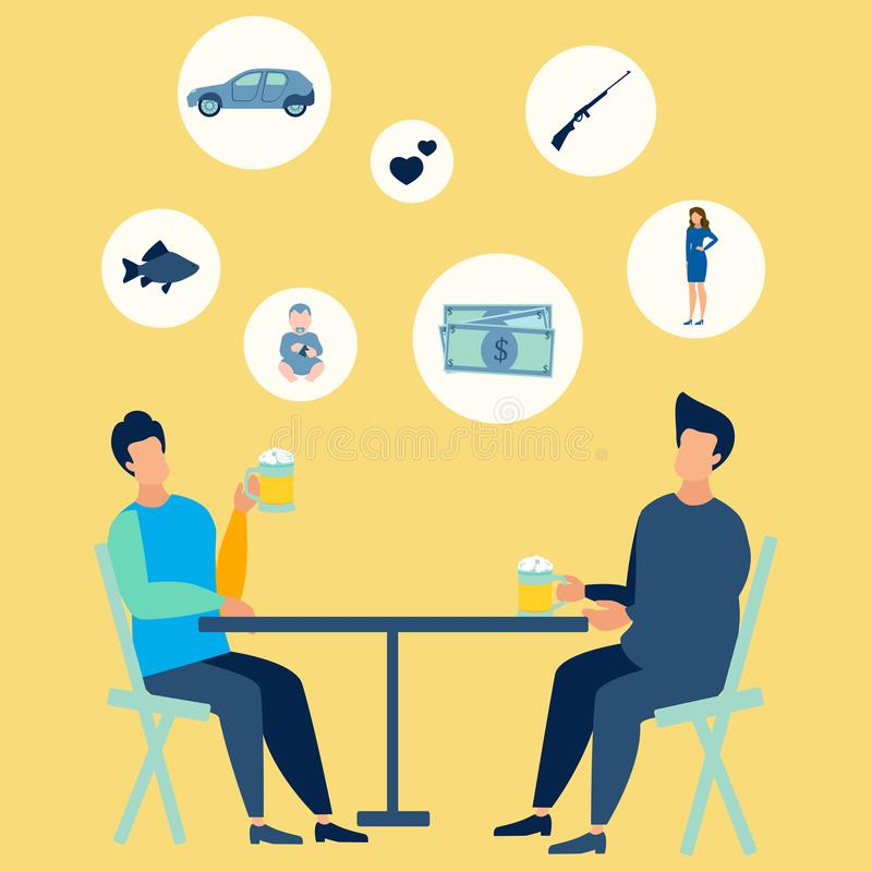 Friends at the bar drink beer. They talk on mens topics. In minimalist style. Flat isometric vector royalty free illustration
