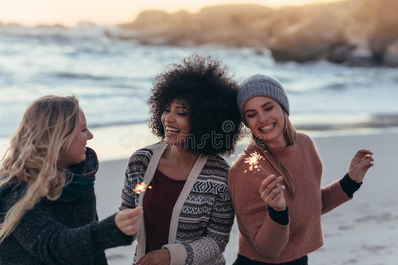 Friends at the beach celebrating new year`s royalty free stock image