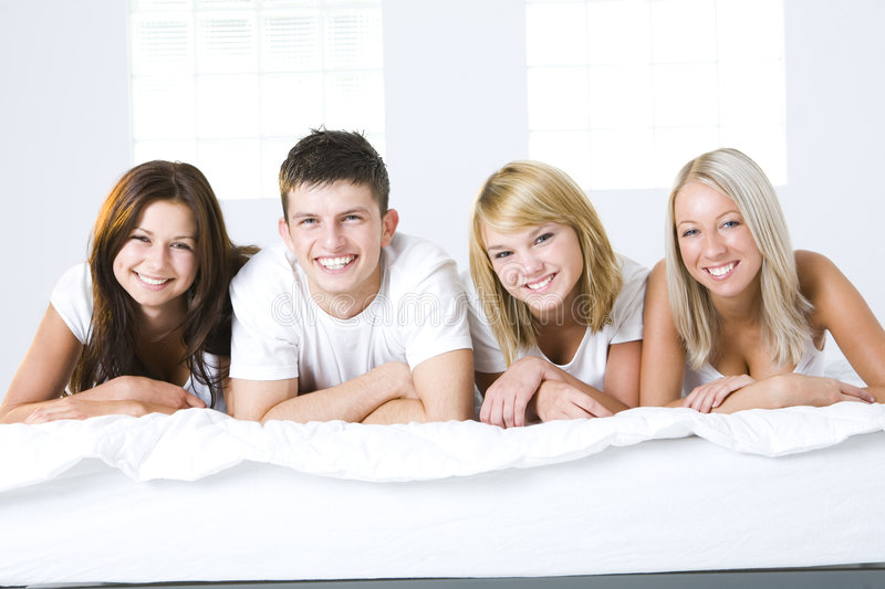 Download Friends in bed stock photo. Image of leisure, friendship - 6448858