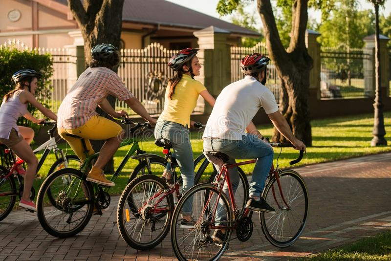 Friends biking in park, back view. royalty free stock image