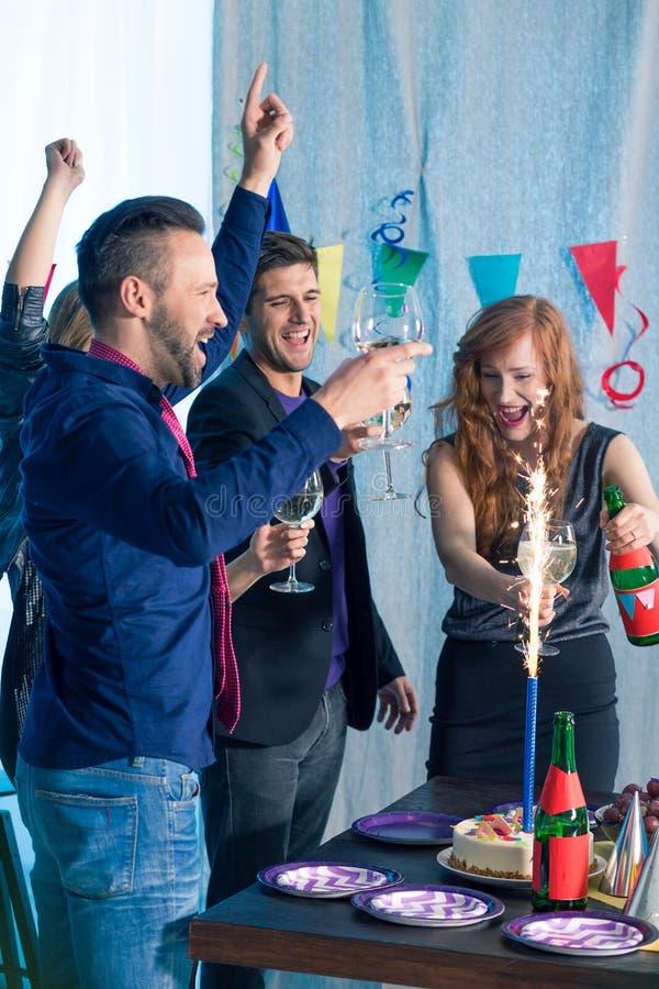 Friends and birthday celebration royalty free stock photos