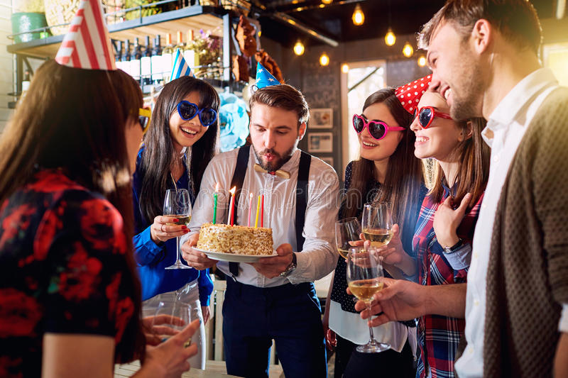 Friends birthday party royalty free stock photography