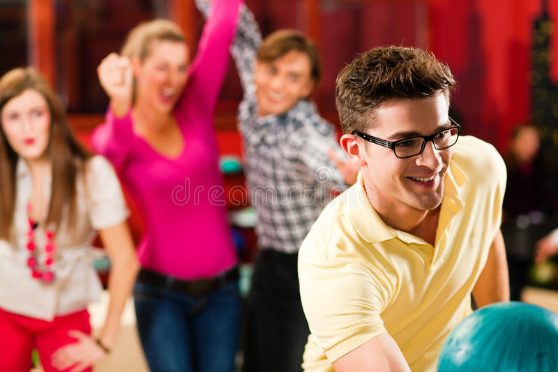 Download Friends bowling having fun stock photo. Image of cheering - 17918412