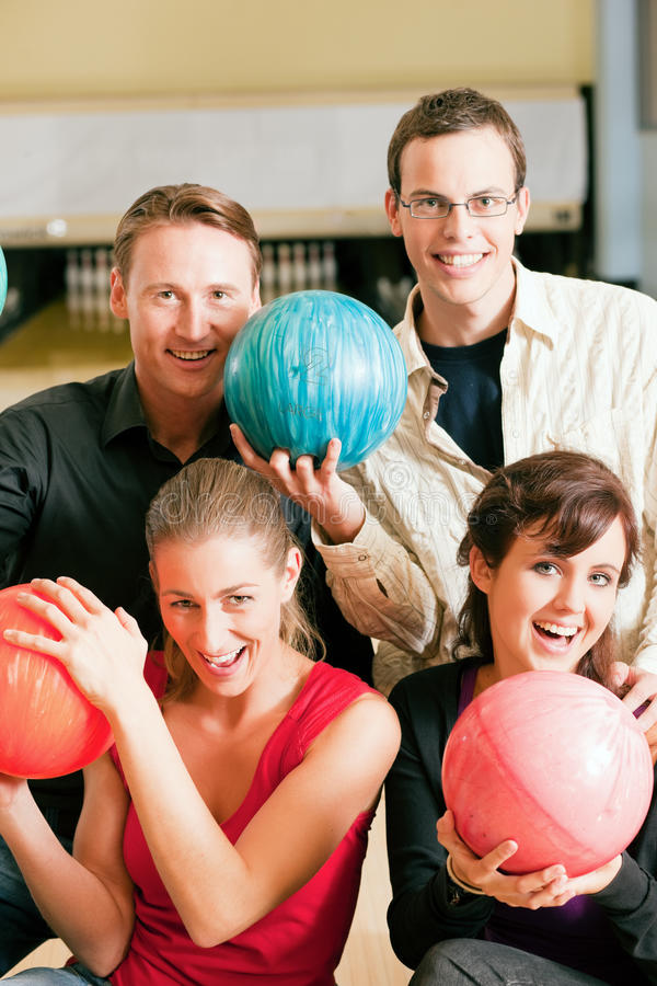 Download Friends bowling together stock photo. Image of thumbs - 12169500