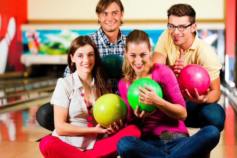 Download Friends bowling together stock photo. Image of adult - 19485818