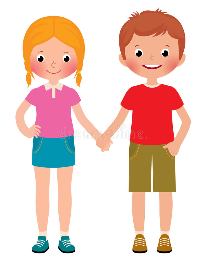 Friends of boy and girl isolated on white background. Stock Vector cartoon illustration of a boy and girl friends isolated on white background stock illustration