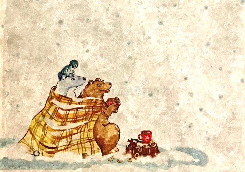 Friends. Brown bear visiting a polar bear. Christmas night. Painting wet watercolor on paper. Naive art. royalty free illustration