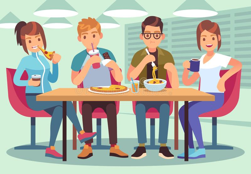 Friends cafe. Friendly people eat drink lunch table fun seating friendship young guys meeting restaurant bar flat image stock illustration