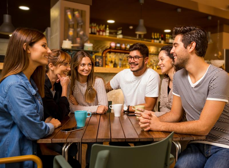 Friends at the cafe. A group of friends talking and drinking coffee at the cafe royalty free stock photos