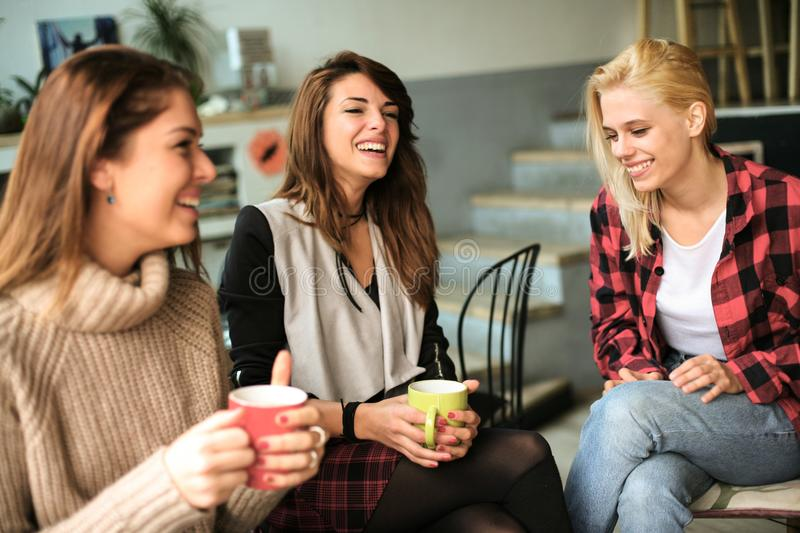 Friends in a cafe. stock photo