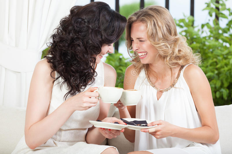 Friends in cafe. Two best friends having fun in cafe royalty free stock images