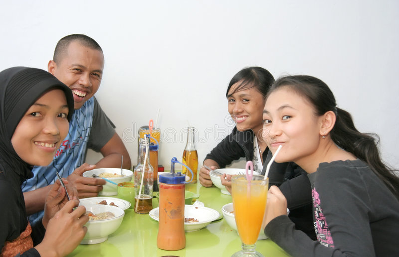 Download Friends at canteen stock image. Image of attractive, joke - 6179561