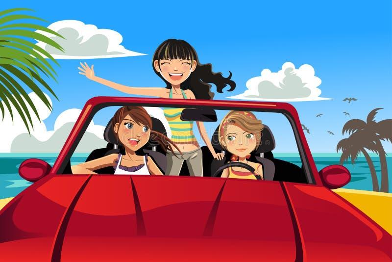 Friends in a car. A vector illustration of three female friends having fun in a car driving near a beach vector illustration