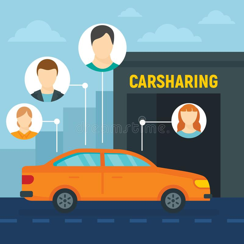 Friends car sharing concept background, flat style. Friends car sharing concept background. Flat illustration of friends car sharing vector concept background vector illustration